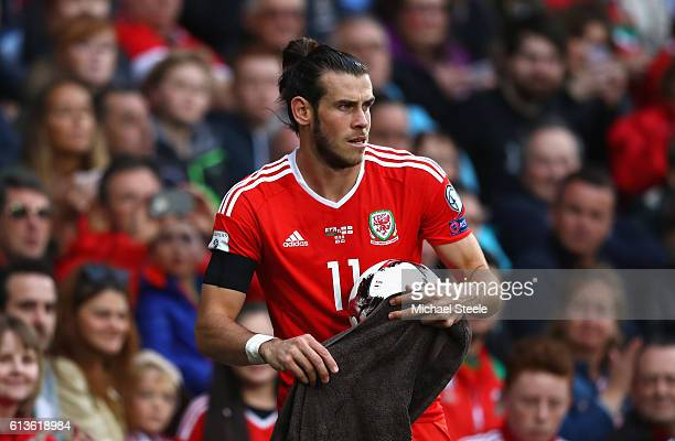 Gareth Bale of Wales prepares to take a throw in during the FIFA 2018 World Cup Qualifier Group D match between Wales and Georgia at Cardiff City...