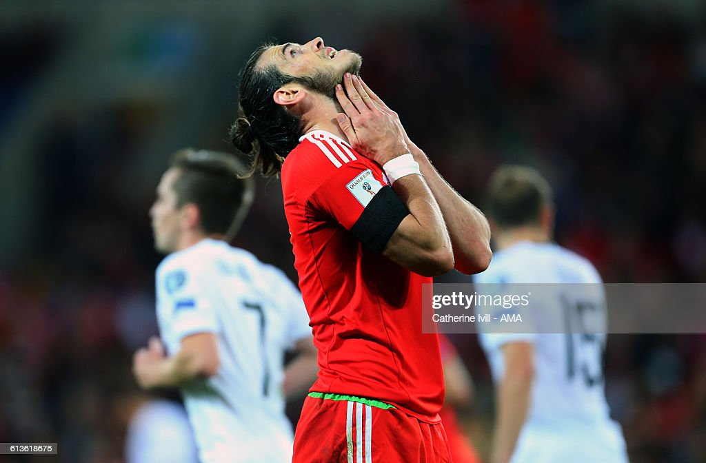 Gareth Bale of Wales reacts after missing a chance during the FIFA 2018 World Cup Qualifier between Wales and Georgia at Cardiff City Stadium on...