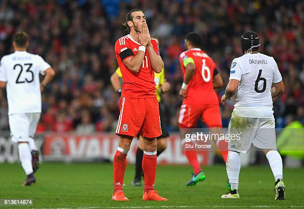 Gareth Bale of Wales reacts during the FIFA 2018 World Cup Qualifier Group D match between Wales and Georgia at Cardiff City Stadium on October 9...