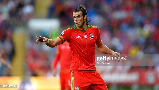 Gareth Bale of Wales reacts during the UEFA EURO 2016 Qualifier between Wales and Israel at Cardiff City Stadium on September 6 2015 in Cardiff...