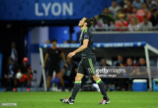 Gareth Bale of Wales reacts during the UEFA EURO 2016 semi final match between Portugal and Wales at Stade des Lumieres on July 6 2016 in Lyon France
