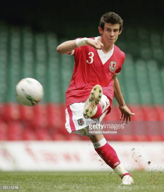 Gareth Bale of Wales scores from a free kick during the EURO 2008 Group D qualifying match between Wales and Slovakia at The Millennium Stadium on...