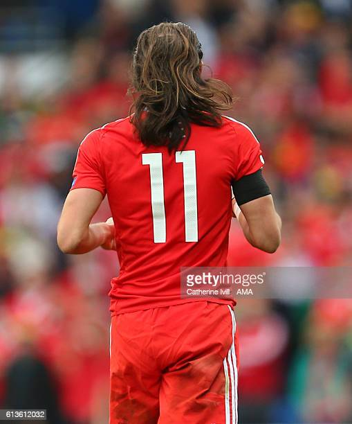 Gareth Bale of Wales with his long hair untied during the FIFA 2018 World Cup Qualifier between Wales and Georgia at Cardiff City Stadium on October...