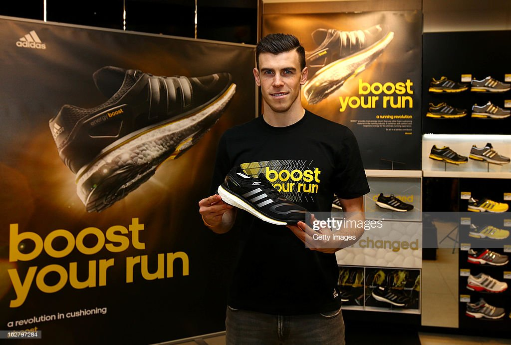 <a gi-track='captionPersonalityLinkClicked' href=/galleries/search?phrase=Gareth+Bale&family=editorial&specificpeople=609290 ng-click='$event.stopPropagation()'>Gareth Bale</a> poses during the adidas boost launch at the adidas store on Oxford Street on February 27, 2013 in London, England.