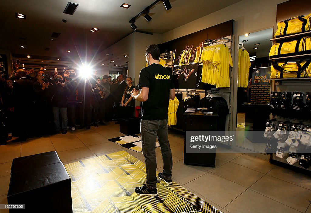 <a gi-track='captionPersonalityLinkClicked' href=/galleries/search?phrase=Gareth+Bale&family=editorial&specificpeople=609290 ng-click='$event.stopPropagation()'>Gareth Bale</a> poses for media during the adidas boost launch at the adidas store on Oxford Street on February 27, 2013 in London, England.