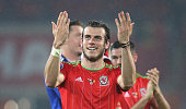 Gareth Bale who scored the winning for Wales celebrates after his teams victory during the UEFA EURO 2016 qualifying match between Wales and Belgium...