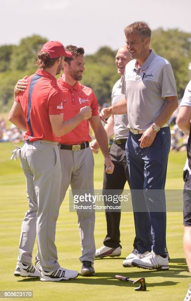 Gareth Bale with team mate Gethin Jones beat Mike Tindall and Peter Jones on day two of the Celebrity Cup at Celtic Manor Resort on July 2 2017 in...