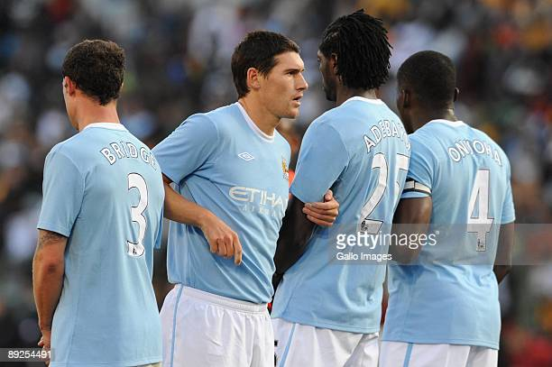 Gareth Barry and teammates during the final of the 2009 Vodacom Challenge match between Kaizer Chiefs and Manchester City at Loftus Versfeld Stadium...