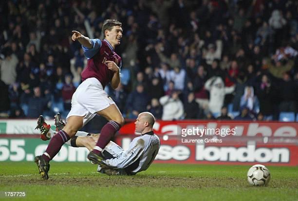 Gareth Barry of Aston Villa celebrates scoring their third goal during the FA Barclaycard Premiership match between Aston Villa and Blackburn Rovers...