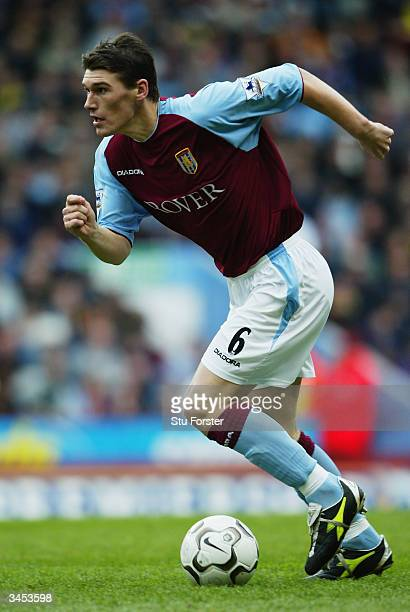 Gareth Barry of Aston Villa runs with the ball during the FA Barclaycard Premiership match between Aston Villa and Newcastle United held on April 18...