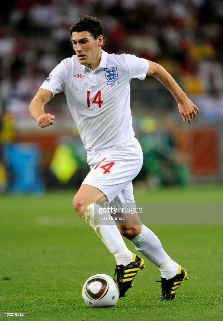 <a gi-track='captionPersonalityLinkClicked' href=/galleries/search?phrase=Gareth+Barry&family=editorial&specificpeople=209123 ng-click='$event.stopPropagation()'>Gareth Barry</a> of England during the 2010 FIFA World Cup South Africa Group C match between England and Algeria at Green Point Stadium on June 18, 2010 in Cape Town, South Africa. The match was drawn 0-0.