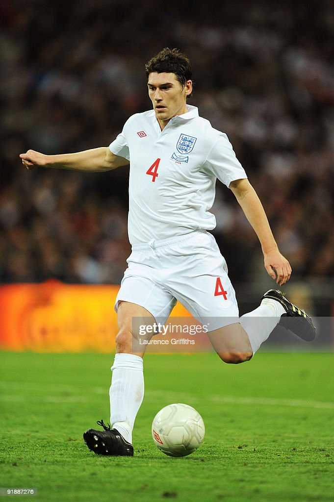 Gareth Barry of England in action during the FIFA 2010 World Cup Qualifying Group 6 match between England and Belarus at Wembley Stadium on October 14, 2009 in London, England.