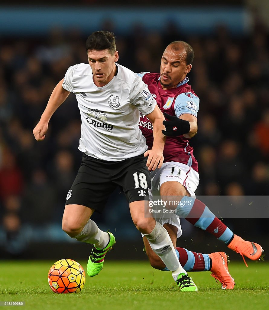 Gareth Barry of Everton and Gabriel Agbonlahor of Aston Villa compete for the ball during the Barclays Premier League match between Aston Villa and Everton at Villa Park on March 1, 2016 in Birmingham, England.