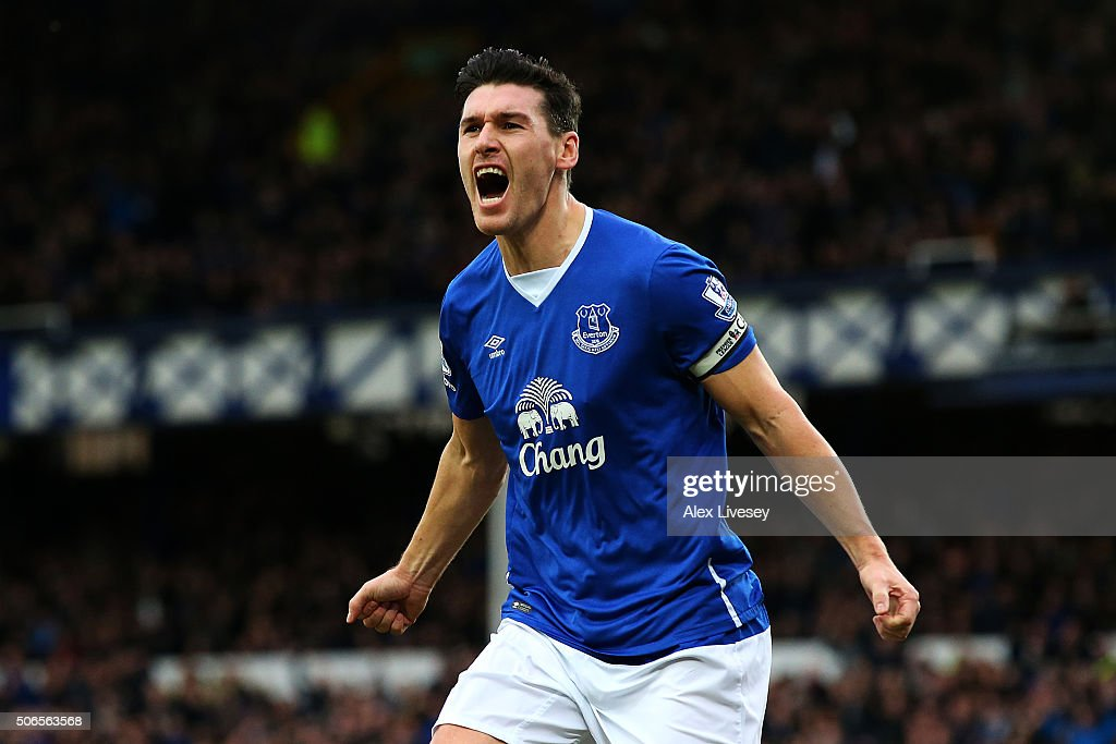 Gareth Barry of Everton celebrates after scoring his team's first goal during the Barclays Premier League match between Everton and Swansea City at...