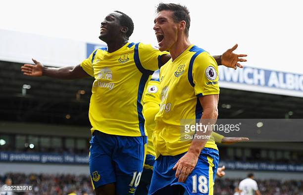 Gareth Barry of Everton celebrates scoring his sides second goal with his team mate Romelu Lukaku of Evertone during the Premier League match between...