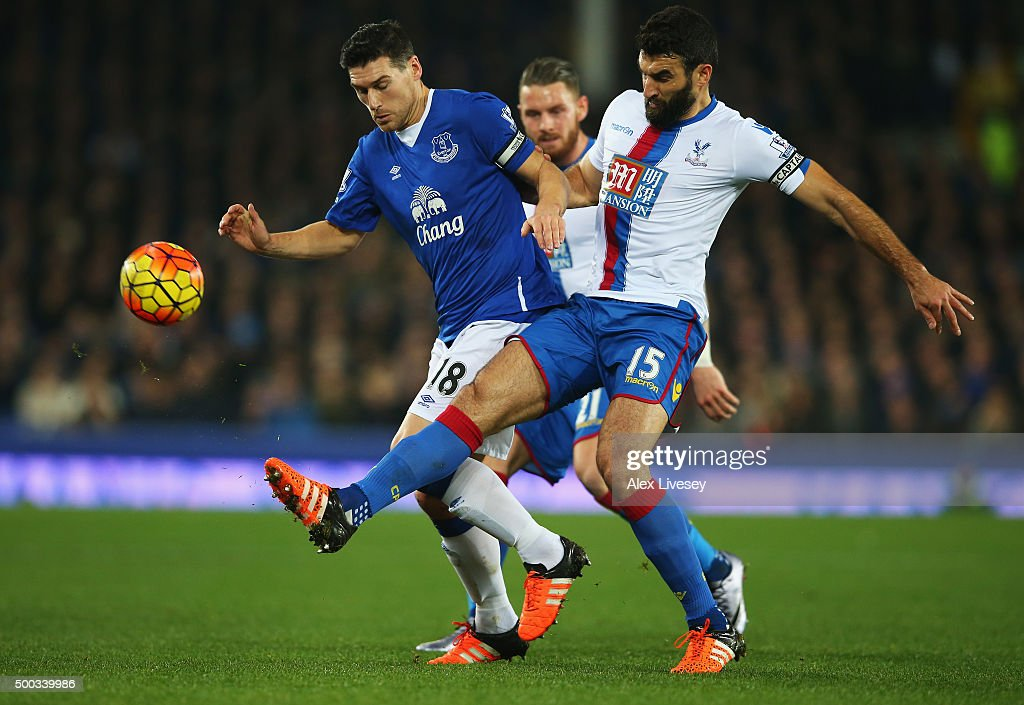 Gareth Barry of Everton challenges Mile Jedinak of Crystal Palace during the Barclays Premier League match between Everton and Crystal Palace at Goodison Park on December 7, 2015 in Liverpool, England.
