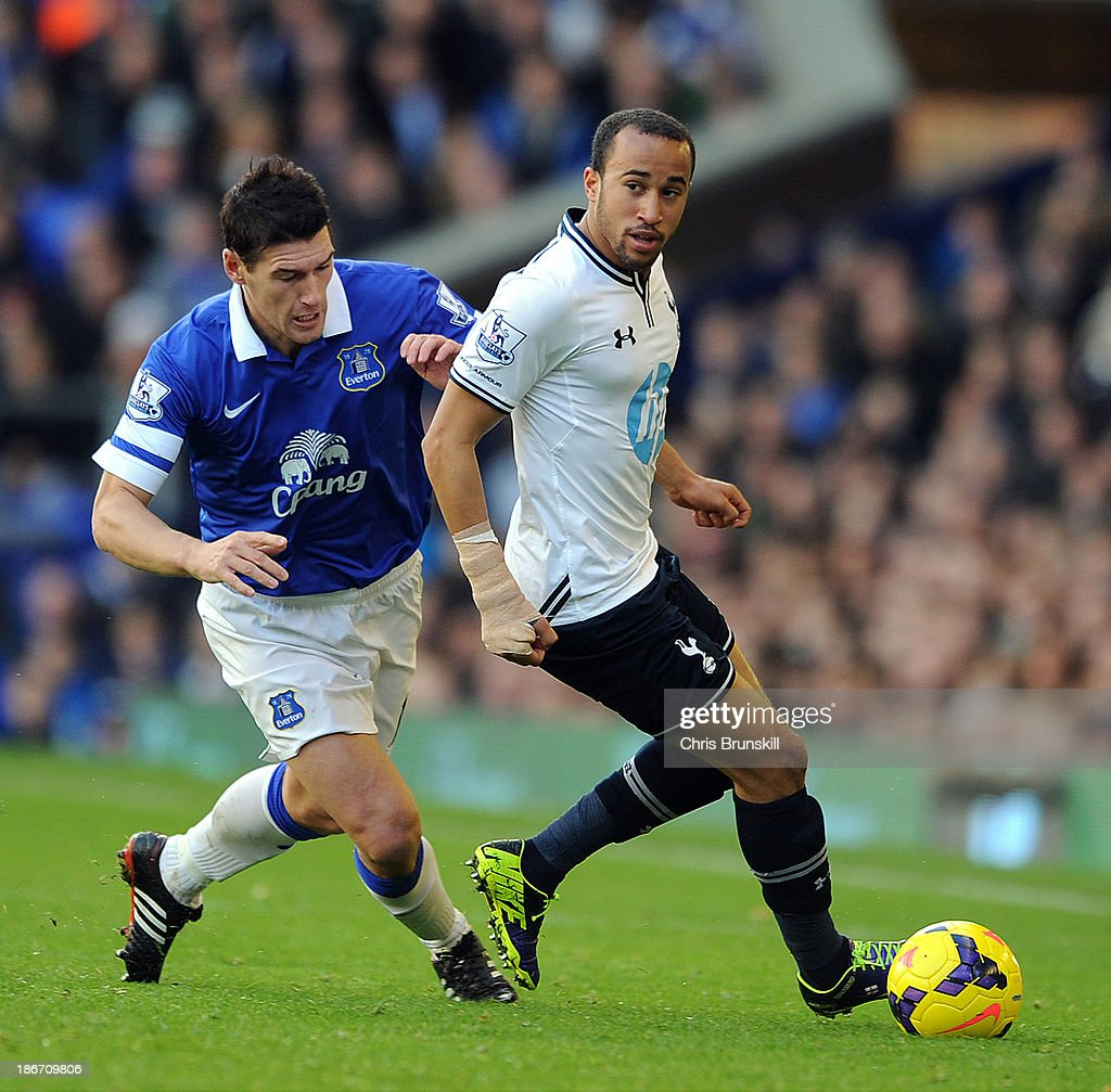 Gareth Barry (L) of Everton in action with Andros Townsend of Tottenham Hotpsur during the Barclays Premier League match between Everton and Tottenham Hotspur at Goodison Park on November 03, 2013 in Liverpool, England.