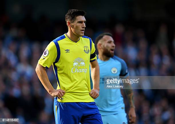 Gareth Barry of Everton looks on during the Premier League match between Manchester City and Everton at Etihad Stadium on October 15 2016 in...