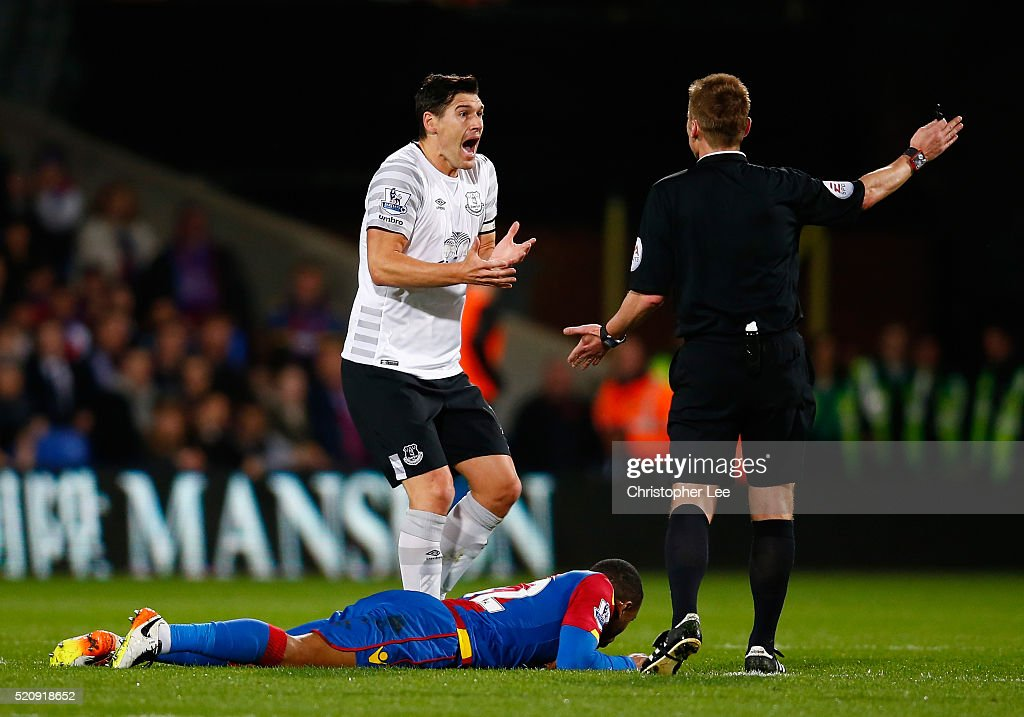 <a gi-track='captionPersonalityLinkClicked' href=/galleries/search?phrase=Gareth+Barry&family=editorial&specificpeople=209123 ng-click='$event.stopPropagation()'>Gareth Barry</a> of Everton reacts with referee <a gi-track='captionPersonalityLinkClicked' href=/galleries/search?phrase=Mike+Jones+-+Referee&family=editorial&specificpeople=7275880 ng-click='$event.stopPropagation()'>Mike Jones</a> during the Barclays Premier League match between Crystal Palace and Everton at Selhurst Park on April 13, 2016 in London, England.