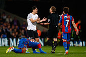 Gareth Barry of Everton reacts with referee Mike Jones during the Barclays Premier League match between Crystal Palace and Everton at Selhurst Park...