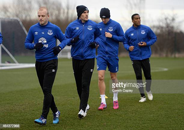 Gareth Barry of Everton warms up during a training session at Finch Farm on February 25 2015 in Halewood England