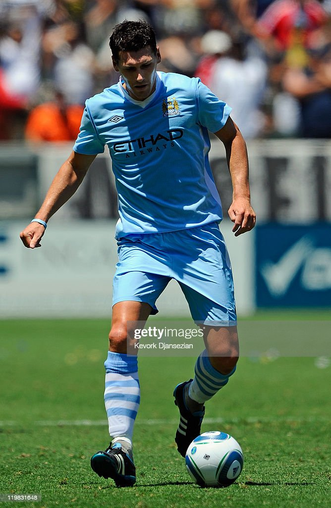 Gareth Barry #18 of Manchester City against Los Angeles Galaxy during the Herbalife World Football Challenge 2011 friendly soccer match at the Home Depot Center on July 24, 2011 in Carson, California