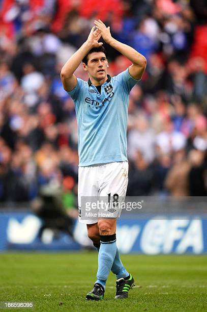 Gareth Barry of Manchester City celebrates victory in the FA Cup with Budweiser Semi Final match between Chelsea and Manchester City at Wembley...