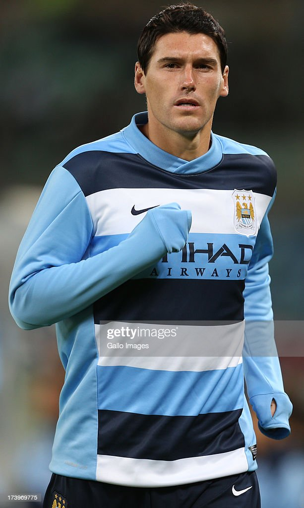 Gareth Barry of Manchester City during the Nelson Mandela Football Invitational match between AmaZulu and Manchester City at Moses Mabhida Stadium on July 18, 2013 in Durban, South Africa.