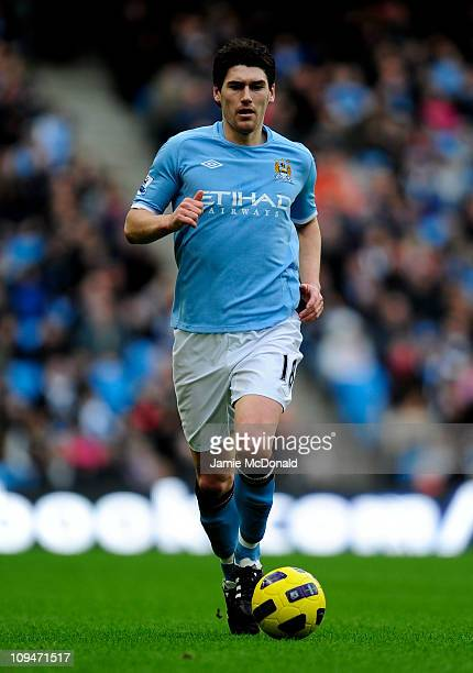 Gareth Barry of Manchester City in action during the Barclays Premier League match between Manchester City and Fulham at the City of Manchester...