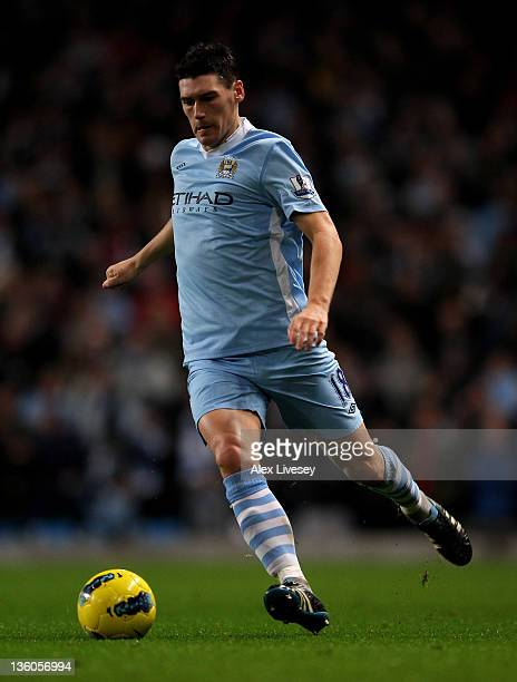 Gareth Barry of Manchester City in action during the Barclays Premier League match between Manchester City and Stoke City at the Etihad Stadium on...