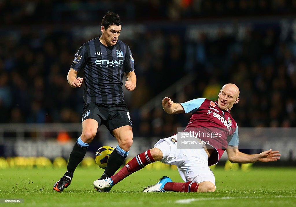 <a gi-track='captionPersonalityLinkClicked' href=/galleries/search?phrase=Gareth+Barry&family=editorial&specificpeople=209123 ng-click='$event.stopPropagation()'>Gareth Barry</a> of Manchester City is challenged by <a gi-track='captionPersonalityLinkClicked' href=/galleries/search?phrase=James+Collins+-+Welsh+Soccer+Player&family=editorial&specificpeople=15167252 ng-click='$event.stopPropagation()'>James Collins</a> of West Ham United during the Barclays Premier League match between West Ham United and Manchester City at the Boleyn Ground on November 3, 2012 in London, England.
