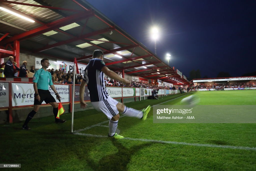 Gareth Barry of West Bromwich Albion takes a corner during the Carabao Cup Second Round match between Accrington Stanley and West Bromwich Albion at Wham Stadium on August 22, 2017 in Accrington, England.
