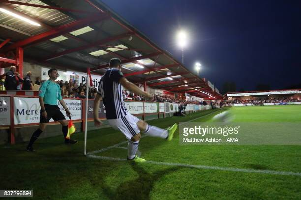 Gareth Barry of West Bromwich Albion takes a corner during the Carabao Cup Second Round match between Accrington Stanley and West Bromwich Albion at...