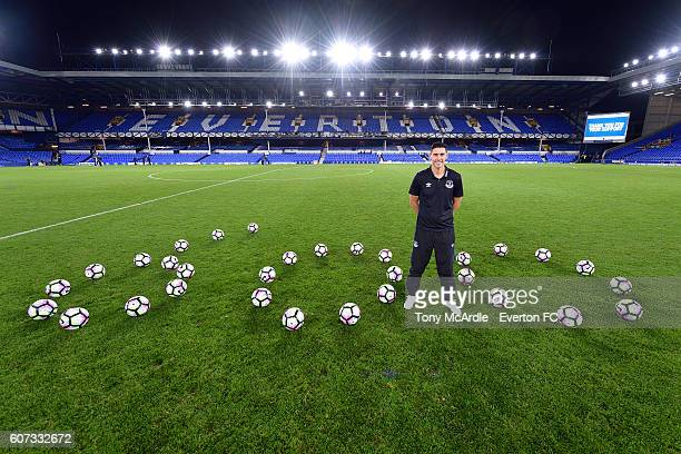 Gareth Barry poses for a quick photo after the Premier League match between Everton and Middlesborough at Goodison Park on September 17 2016 in...