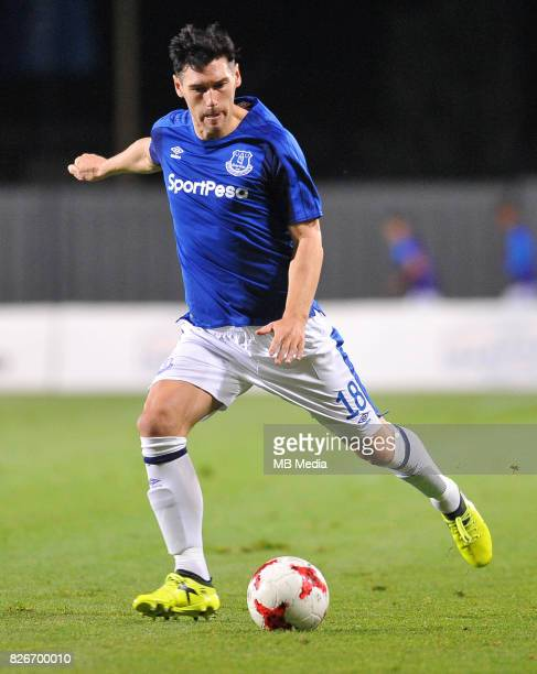 Gareth Barry reacts during the UEFA Europa League Qualifier between MFK Ruzomberok and Everton on August 3 2017 in Ruzomberok Slovakia