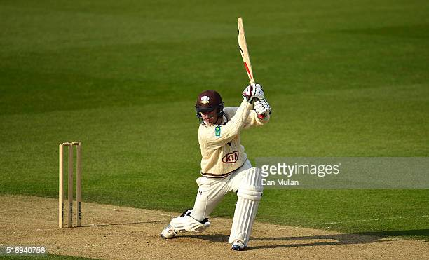 Gareth Batty of Surrey bats during day one of the preseason friendly between Surrey and Middlesex at The Kia Oval on March 22 2016 in London England