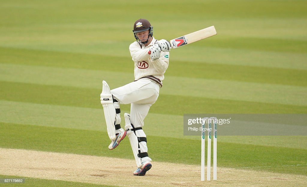 <a gi-track='captionPersonalityLinkClicked' href=/galleries/search?phrase=Gareth+Batty&family=editorial&specificpeople=215258 ng-click='$event.stopPropagation()'>Gareth Batty</a> of Surrey bats during day two of the Specsavers County Championship Division One match between Surrey and Durham at the Kia Oval on May 2, 2016 in London, England.