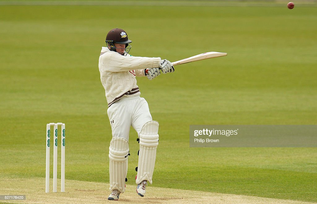 Gareth Batty of Surrey bats during day two of the Specsavers County Championship Division One match between Surrey and Durham at the Kia Oval on May 2, 2016 in London, England.
