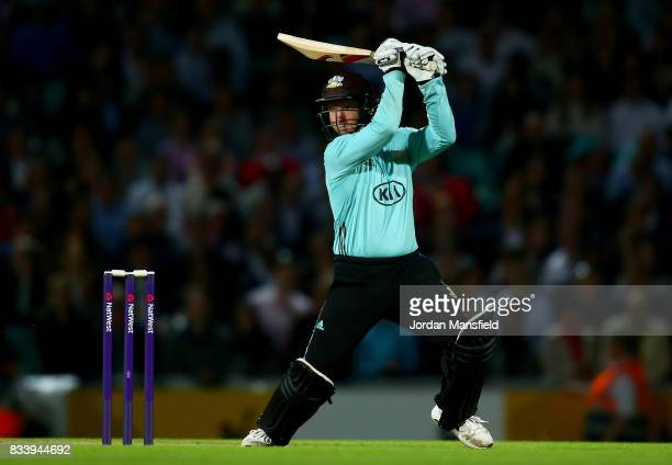Gareth Batty of Surrey bats during the NatWest T20 Blast match between Surrey and Gloucestershire at The Kia Oval on August 17 2017 in London England