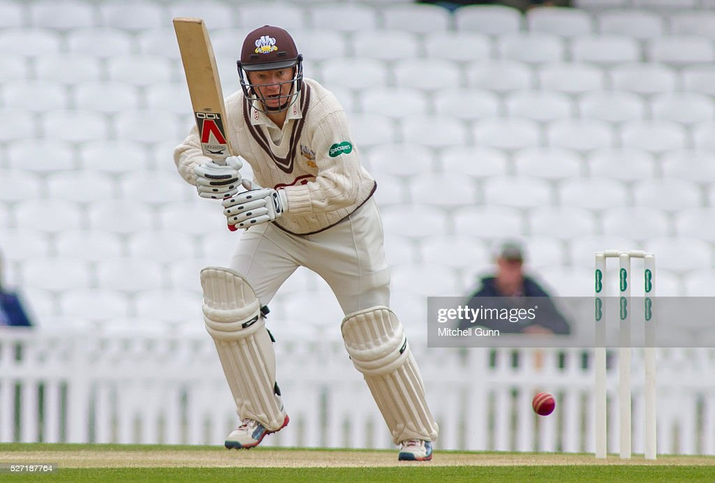 <a gi-track='captionPersonalityLinkClicked' href=/galleries/search?phrase=Gareth+Batty&family=editorial&specificpeople=215258 ng-click='$event.stopPropagation()'>Gareth Batty</a> of Surrey batting during the Specsavers County Championship Division One match between Surrey and Durham at the Kia Oval Cricket Ground, on May 02, 2016 in London, England.