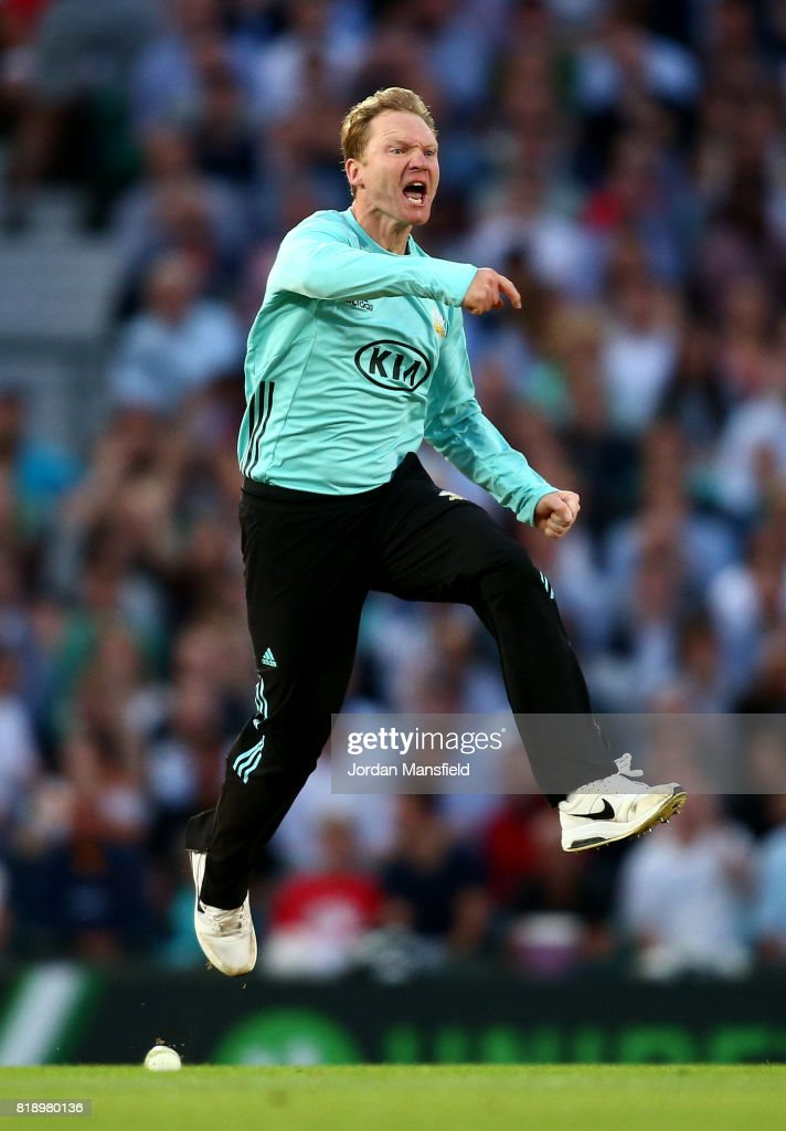 Gareth Batty of Surrey celebrates dismissing Ryan ten Doeschate of Essex during the NatWest T20 Blast match between Surrey and Essex Eagles at The Kia Oval on July 19, 2017 in London, England.