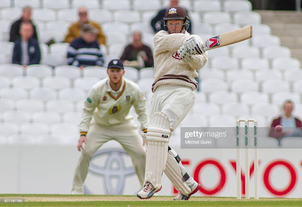 <a gi-track='captionPersonalityLinkClicked' href=/galleries/search?phrase=Gareth+Batty&family=editorial&specificpeople=215258 ng-click='$event.stopPropagation()'>Gareth Batty</a> of Surrey hits out during the Specsavers County Championship Division One match between Surrey and Durham at the Kia Oval Cricket Ground, on May 02, 2016 in London, England.