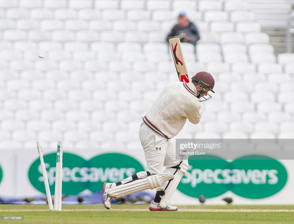 <a gi-track='captionPersonalityLinkClicked' href=/galleries/search?phrase=Gareth+Batty&family=editorial&specificpeople=215258 ng-click='$event.stopPropagation()'>Gareth Batty</a> of Surrey is bowled out by Ben Stokes of Durham during the Specsavers County Championship Division One match between Surrey and Durham at the Kia Oval Cricket Ground, on May 02, 2016 in London, England.