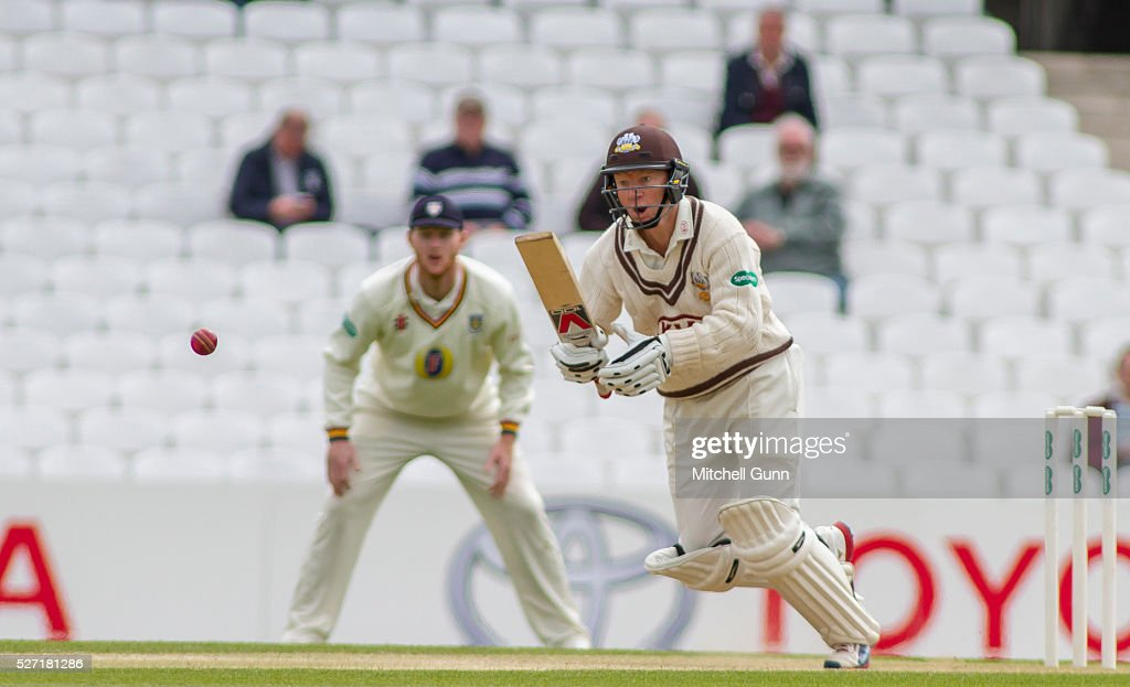 <a gi-track='captionPersonalityLinkClicked' href=/galleries/search?phrase=Gareth+Batty&family=editorial&specificpeople=215258 ng-click='$event.stopPropagation()'>Gareth Batty</a> of Surrey plays a shot during the Specsavers County Championship Division One match between Surrey and Durham at the Kia Oval Cricket Ground, on May 02, 2016 in London, England.