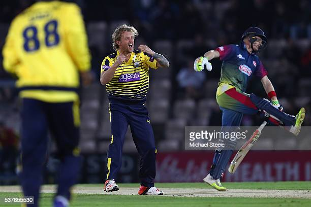 Gareth Berg of Hampshire celebrates taking the wicket of Sam Billings of Kent during the NatWest T20 Blast match between Hampshire and Kent the Ageas...