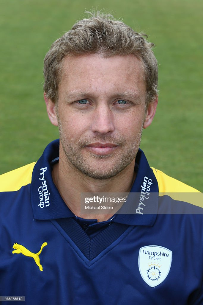 Gareth Berg of Hampshire during the Hampshire CCC Photocall at the Ageas Bowl on April 1 2015 in Southampton England