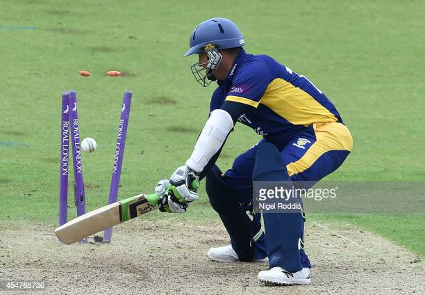Gareth Breese of Durham is bowled out by Luke Fletcher of Nottinghamshire during the Royal London One Day Cup 2014 Semi Final between Durham and...