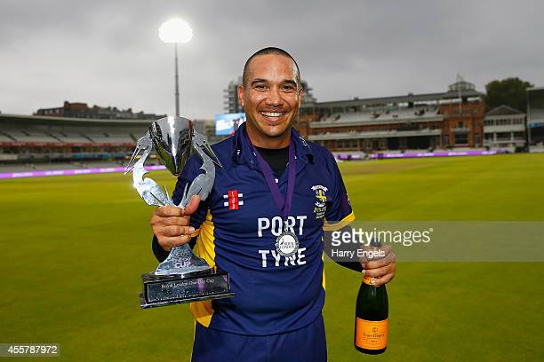 Gareth Breese of Durham poses with the trophy after his side won the Royal London OneDay Cup Final between Warwickshire and Durham at Lord's Cricket...