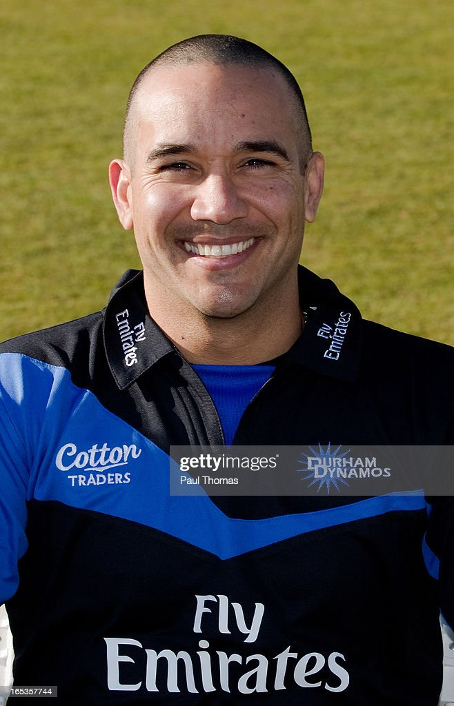 Gareth Bresse of Durham CCC wears the FriendsLife T20 kit during a pre-season photocall at The Riverside on April 3, 2013 in Chester-le-Street, England.