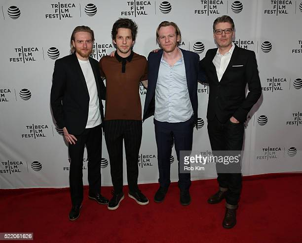Gareth Coulam Evans Damien Molony Brian Gleeson and Simon Dixon attend the premiere of 'Tiger Raid' Premiere during the 2016 Tribeca Film Festival at...